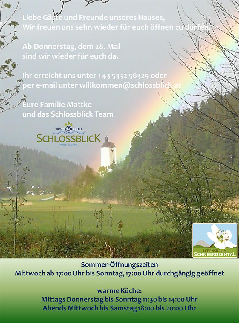 Hotel Schlossblick Öffnung im Mai
